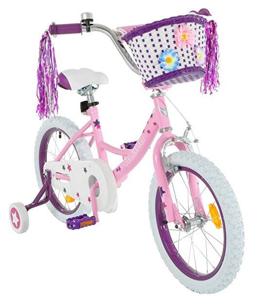 Vilano Girl's 14 Inch Bike with Training Wheels and Basket