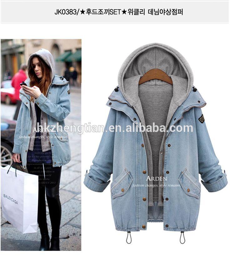 Instyles walson Women Autumn Denim Jacket Loose Casual Jean Jackets Windbreaker Two Pcs Set Jeans Coat & Hoodie Coats Plu Size