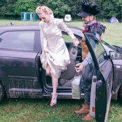 Alice in Wonderland Wedding - muddy wedding car!