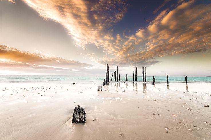 The ruins of Port Willunga jetty date back to 1853 Fleurieu Peninsula South Australia.  By Jodi G Photography