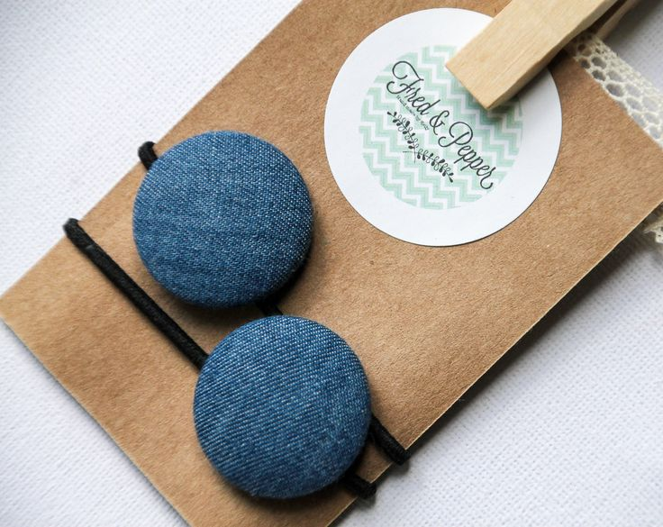 Denim Fabric Button Hair Ties ~ Hair Accessory ~ Girls Hair Bands ~ Womens Hair Accessory ~ Chambray Hair Bands by FredandPepperShop on Etsy