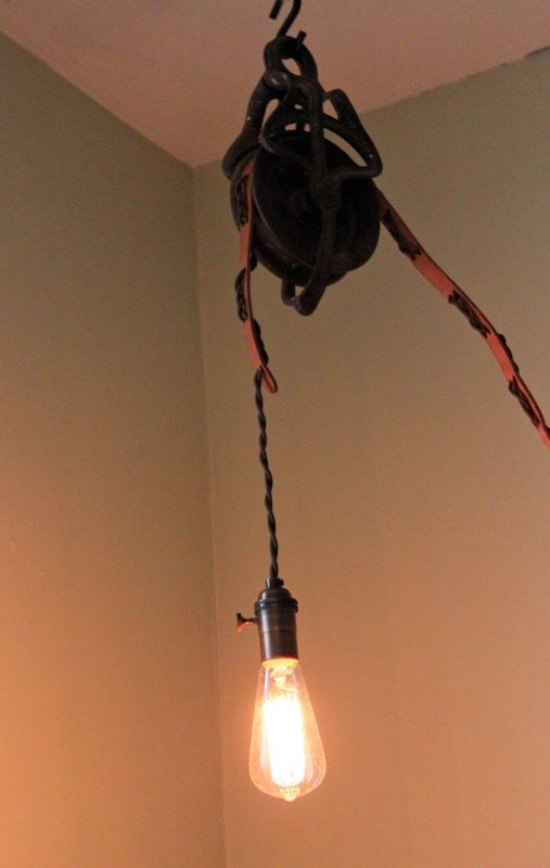 Antique Pulley Wheel Lamp