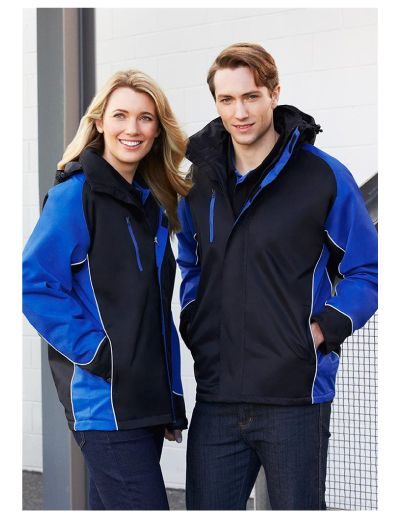 Outer: 100% Nylon - PU Coated Performance Fabric Body Lining: 100% Polyester Micro Fleece Sleeve Lining: 100% Polyester Contrast panels with piping Concealed hood with 2 way Full zip and storm flap Internal pocket Front right chest pocket with MP3 access Zipper access for embroidery Modern Fit
