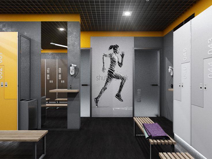 Интерьер женской раздевалки в тренажерном зале. Gym, fight club.