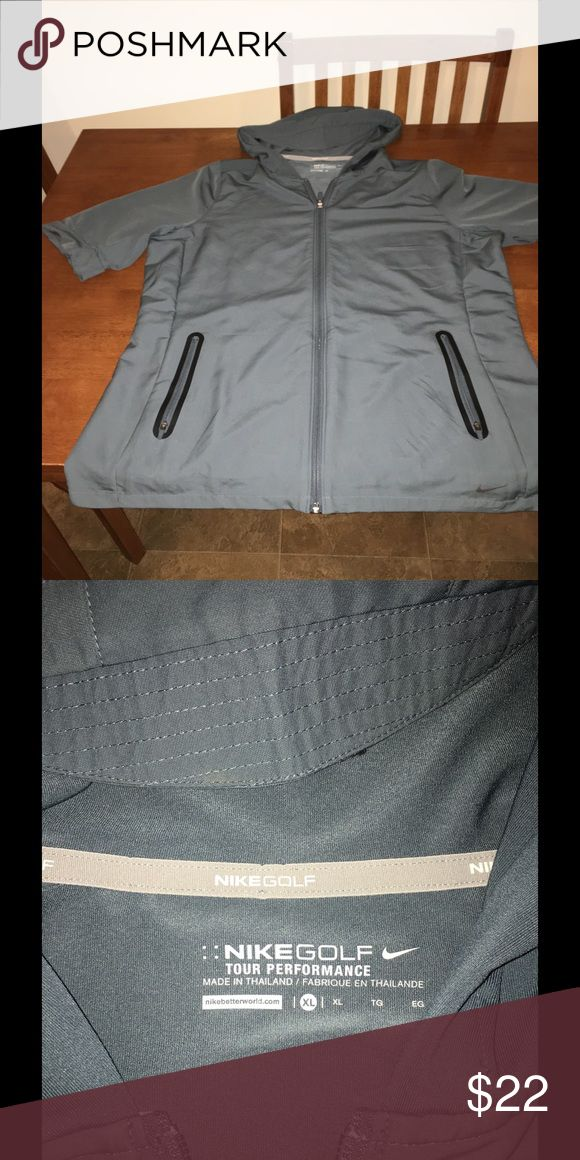 Like New NIKE Golf Jacket Ladies XL Grey-green color.  Like new-shows no signs of wear.   Golf jacket by Nike.  Zip front, short sleeve.  Ladies XL.  Important:   All items are freshly laundered as applicable prior to shipping (new items and shoes excluded).  Not all my items are from pet/smoke free homes.  Price is reduced to reflect this!   Thank you for looking! Nike Jackets & Coats