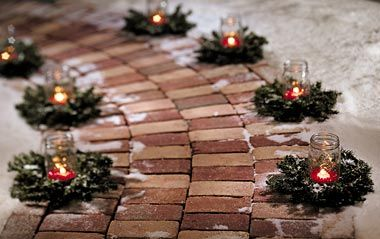 mason jars, candles, & wreaths up the walkway.....
