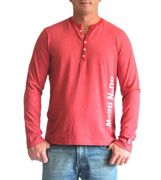 Faded red 5-button henley with coordinates on the side | 60°N 95°W | 60N95W.com