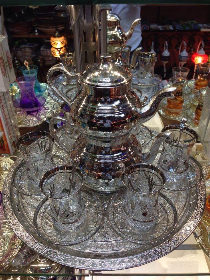 Complete Silver Turkish Tea Set