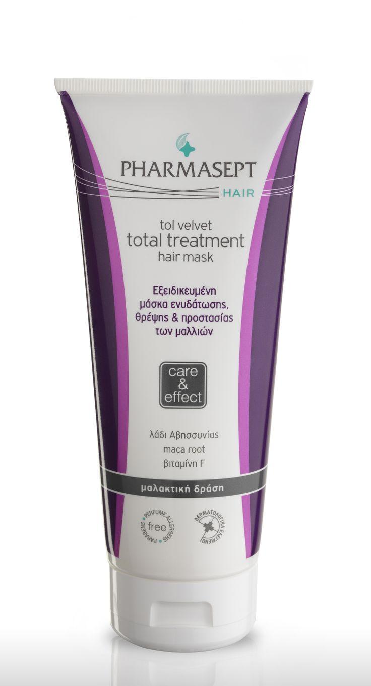 TOL VELVET TOTAL TREATMENT HAIR MASK 200ml Ολοκληρωμένη φροντίδα, ενυδάτωση & προστασία για λαμπερά και υγιή μαλλιά! Μάσκα μαλλιών καθημερινής χρήσης με εξειδικευμένη φόρμουλα διπλής δράσης: εσωτερικά ενισχύει τη δομή της τρίχας, ενώ εξωτερικά δημιουργεί ένα φιλμ προστασίας. Τα πολύτιμα συστατικά της επαναφέρουν την χαμένη υγρασία των μαλλιών, προστατεύουν από το σπάσιμο και ενισχύουν την αντοχή της τρίχας, μειώνοντας έως και 1,5 φορά τη δύναμη που χρειάζεται για το χτένισμα των μαλλιών.