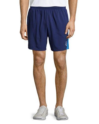 N3FK8 Asics 2-N-1® Contrast-Stripe Shorts, True Navy/New Blue