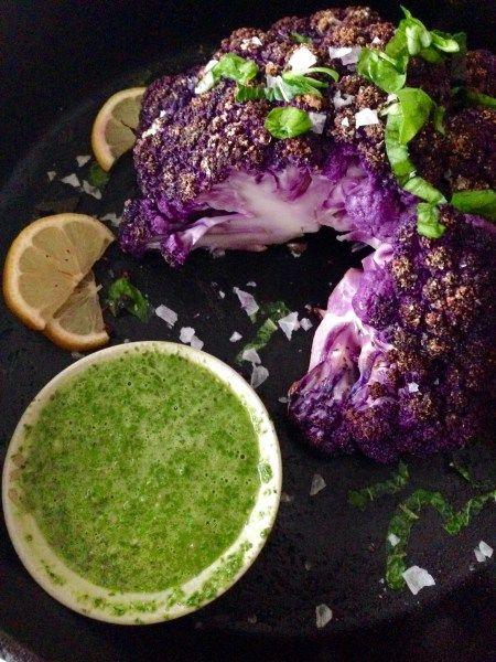 Purple Roasted Cauliflower with Mint-Basil Chimichurri ~ Real Food with Dana