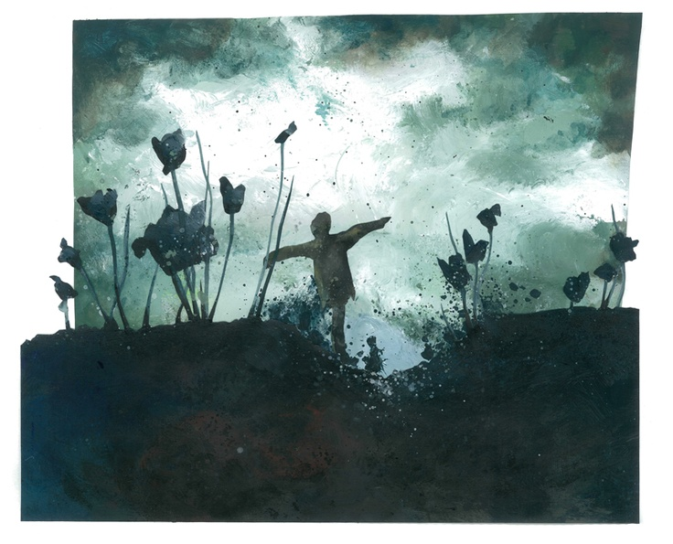 Untitled // illustration // colour // paint // cut and paste // realistic // graphic // scarecrow // field of grass // empty space // tulips // flowers // sky