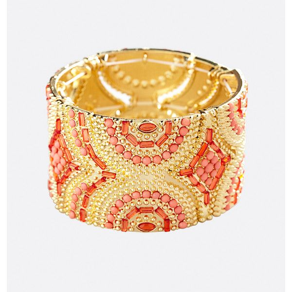Avenue Aztec Stone Stretch Bracelet ($16) ❤ liked on Polyvore featuring jewelry, bracelets, coral, plus size, aztec jewelry, beaded jewelry, stone jewellery, bead jewellery and stone jewelry