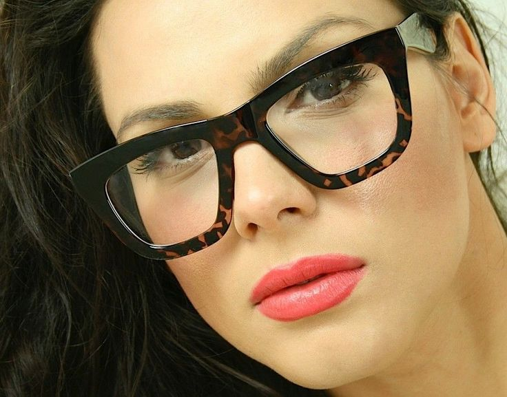 Vintage Huge Big Oversized Cat Eye Tortoise Clear Lens ...