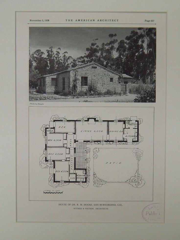 House of Dr. R. M. Moose, San Bernardino, CA, 1928, Lithograph. Witmer & Watson