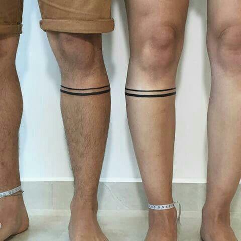 His and Hers Tattoos 23 Leg Band Tattoos, Body Tattoos, Tatoos, Him And Her Tattoos, Tattoos For Guys, One Line Tattoo, I Tattoo, Tattoo Maori Perna, Couples Tattoo Designs