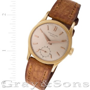Gents Patek Philippe Calatrava in 18k on leather strap