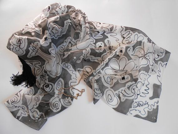 Sciarpa di seta dipinta a mano motivo astratto di AdeleDaniele