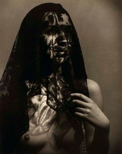 Josef EHM :: Portrait behind black lace, ca. 1945