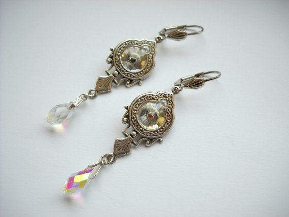 Victorian Art Nouveau Crystal White by HAartNouveauJewelry on Etsy