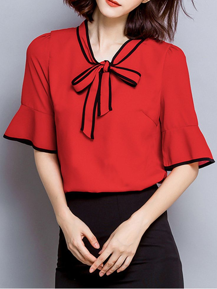 Tie Collar Bowknot Contrast Trim Bell Sleeve Blouse