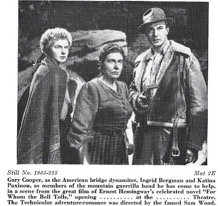 Ingrid Bergman, Gary Cooper, and Katina Paxinou in For Whom the Bell Tolls (1943)