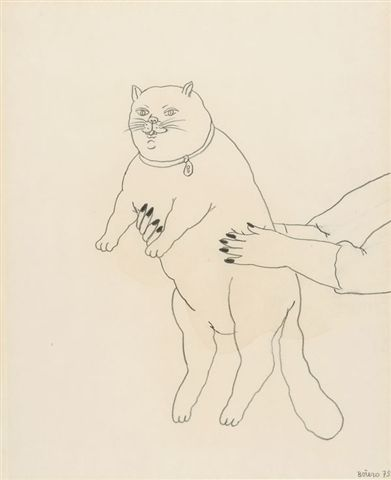 a fat cat... Fernando Botero, 1979 Just like his people, Botero makes his kitties fat.