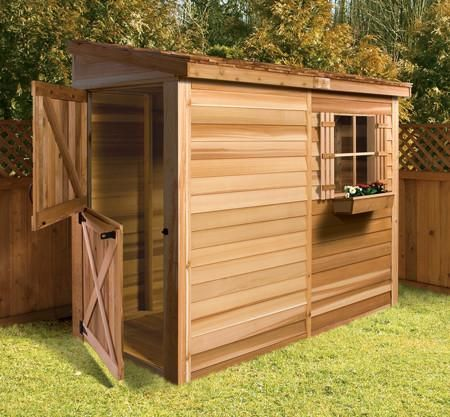 Cedarshed Bayside Garden Sheds are a wooden 8 x 4 lean-to style storage shed made from Cedar and includes hardware and DIY kit plans.