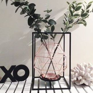 Metal Lantern and Geometric Candle Holder