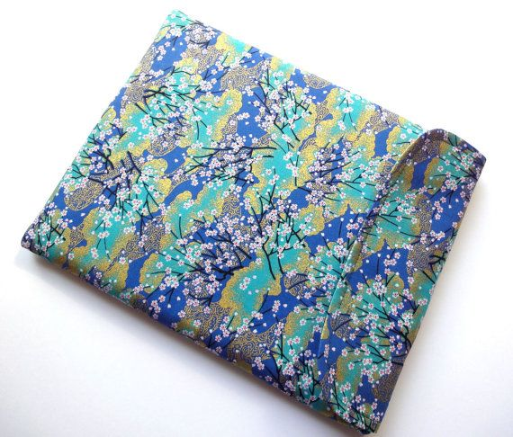 BlackBerry PlayBook Sony tablet s Samsung Galaxy tablet - Kimono cotton fabric cherry blossoms teal blue. $21.99, via Etsy.