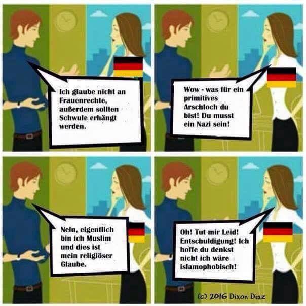 #Realsatire #Willkommenskultur Oh, Muslime glauben nicht an Frauenrechte, außerdem wollen sie Schwule erhängen? Kein Problem! — Buntmenschenlogik (Tolerieren von Intoleranz ist Feigheit!)