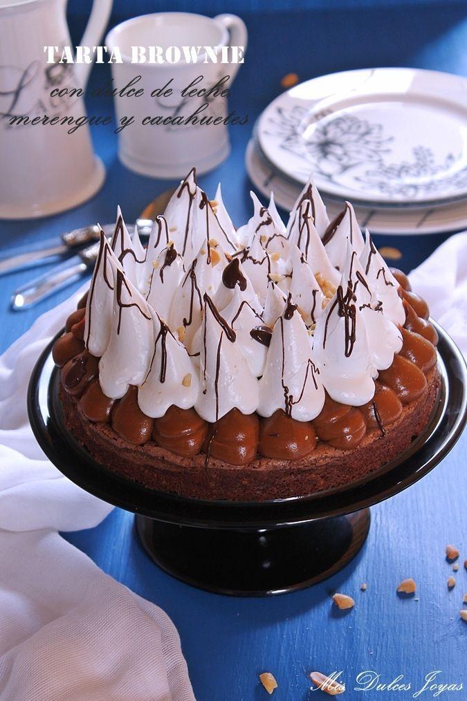 Tarta brownie con dulce de leche, merengue y cacahuetes - Mis Dulces Joyas