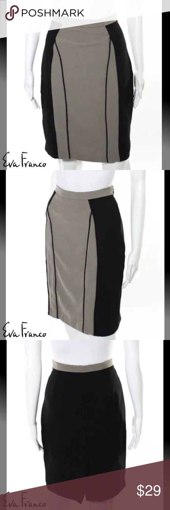 """EVA FRANCO (ANTHRO) Classy Blk/Gray Pencil Skirt SIZE 4. 21.5"""" Length. 26"""" Waist. Black & Gray Colors. Color locked Design. Pencil Style. Back Slit. Back Zipper & Eye Closure. Fully Lined. Dry Clean. 92% Polyester/8% Spandex Blend. Perfect Condition. WORN ONCE Anthropologie Skirts Pencil"""