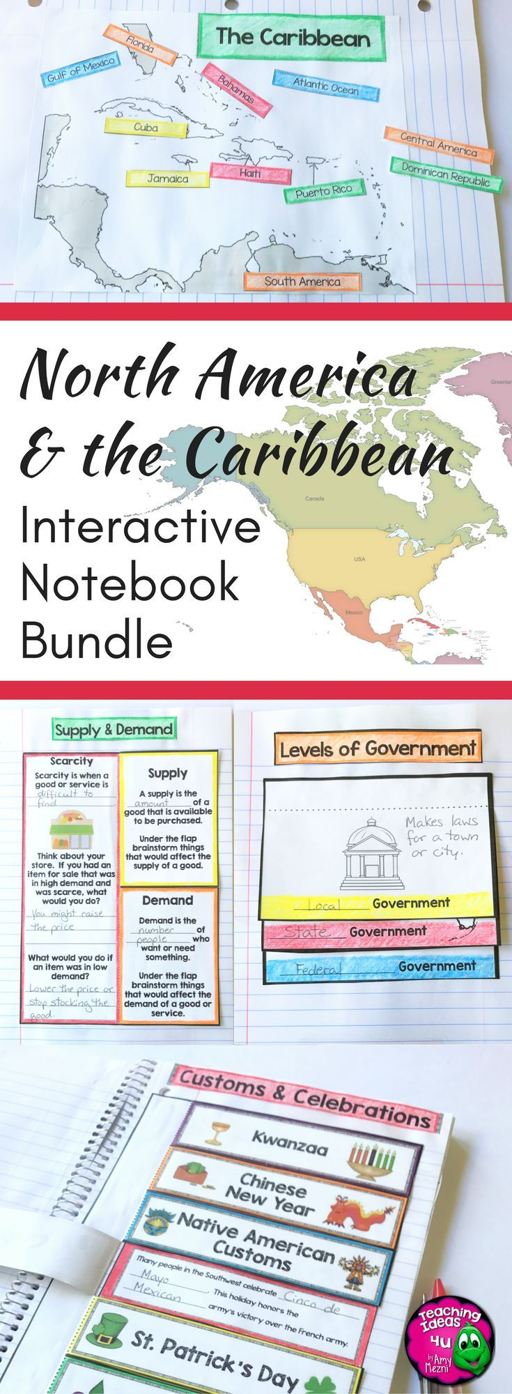 North America Interactive Notebook Bundle Social Studies 3rd Grade - This is a complete set of interactive notebooks with assessments for North American geography and cultures, economics, and government & civics. The interactivities are created to support students' reading skills. The guiding questions and topics provided help students determine which facts are main ideas. Great for third grade teachers of history, civics, and economics social studies topics. {third graders}