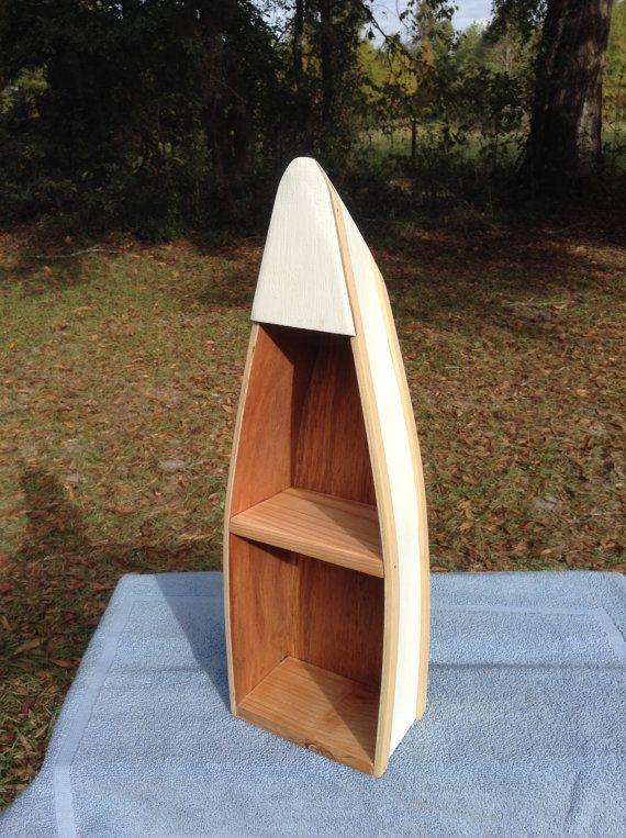 "Handcrafted 20"" Wooden Canoe Boat Shelf by RabonRiverRunners"