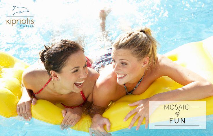 """Girls just wanna have fun"" at Kipriotis Hotels!     #KipriotisHotels #MosaicOfPossibilities #MosaicOfFun #Pool #Friends #Girls #Women #vacation #holidays #summer #summer2016 #Greece #VisitGreece http://www.kipriotis.gr/en/"