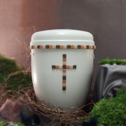 Naturfaserurne mit Kreuz aus Mosaik »Novara« • einzigartige & handgefertigte Urnen aus Naturfaser • Jetzt versandkostenfrei kaufen bei ▷ Serafinum.de