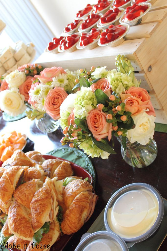 Pretty Spring Flowers with yummy sandwiches and little treats