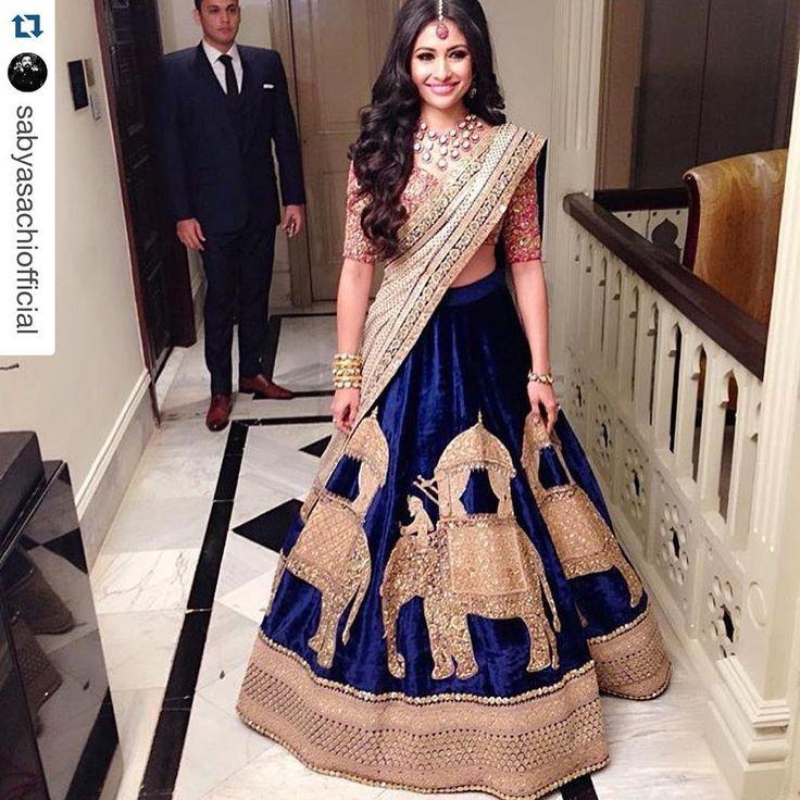 """Director of Aza, Devangi Nishar looked absolutely breathtaking in a Sabyasachi lehenga at her grand reception in Mumbai. #bestwishes #wedding #reception…"""