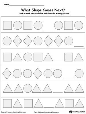 What Shape Comes Next?: Your child will learn to recognize and complete patterns by identifying next picture, color, size and shape in this printable worksheet.