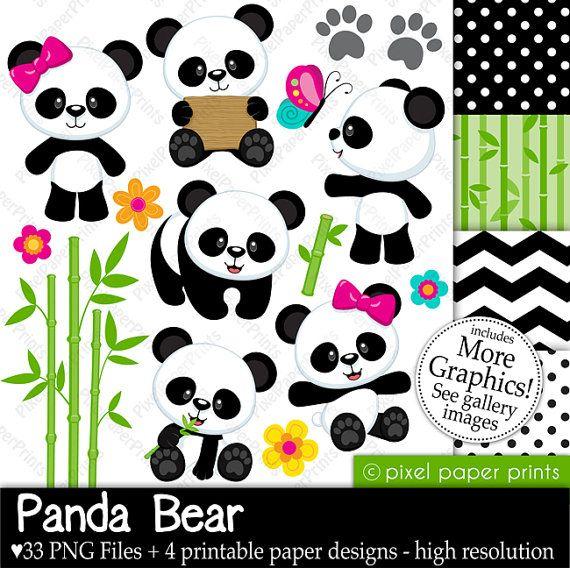 Panda Bear - Digital paper and clip art set