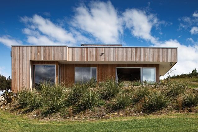 The cedar-clad house bunkers down in tussock planting.
