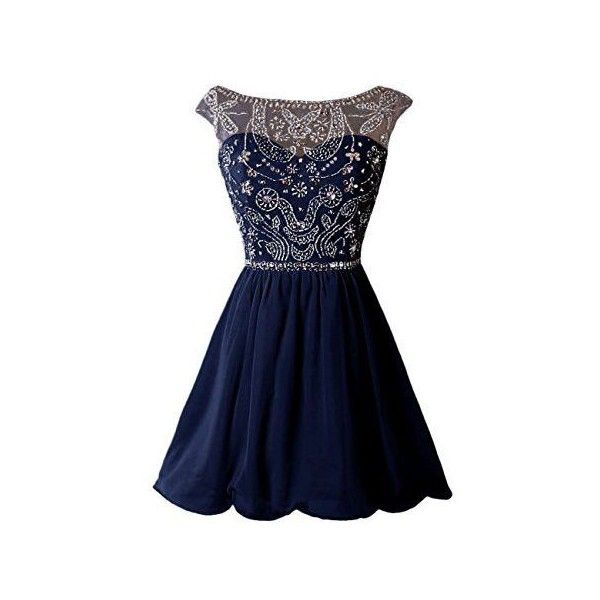 Dressystar Short Homecoming Party Dress Sparkling Bateau Prom Evening... ❤ liked on Polyvore featuring dresses, navy blue homecoming dress, navy blue prom dresses, prom dresses, homecoming dresses and blue dress