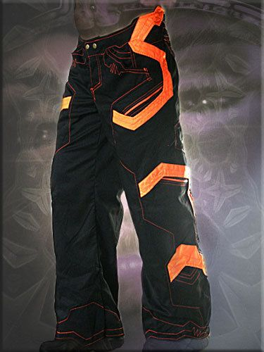 cyber pants, electric universe trousers with UV orange - fluorescent