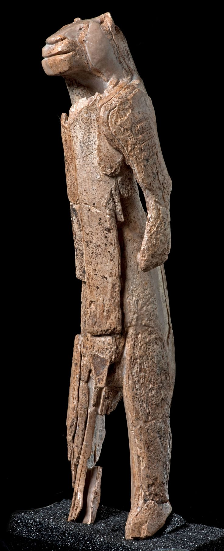 http://donsmaps.com/lionlady.htmlLoewenmensch, Löwenmensch, formerly often called Lowenfrau, the Lion Lady Venus - carved from mammoth ivory, it is 30 cm high and 6 cm in diameter. It was found in the cave of Hohlenstein-Stadel in the Valley of Lone, Baden-Wurttemberg (Germany), in 1931, dated as Aurignacian, in a level recently dated to 40 000 BP, making it the oldest sculpture known.