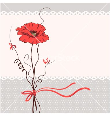 Red poppy floral card background vector 514441 - by ESSL on VectorStock®