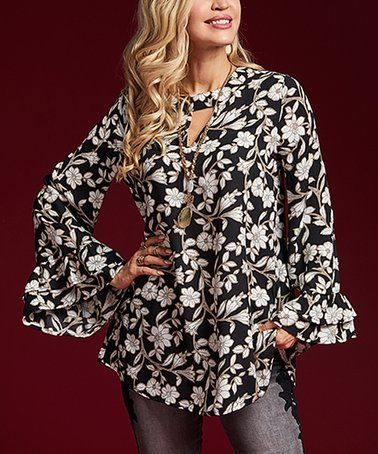08440bb8b8b Another great find on #zulily! Black Floral Keyhole Bell-Sleeve Tunic -  Women & Plus #zulilyfinds