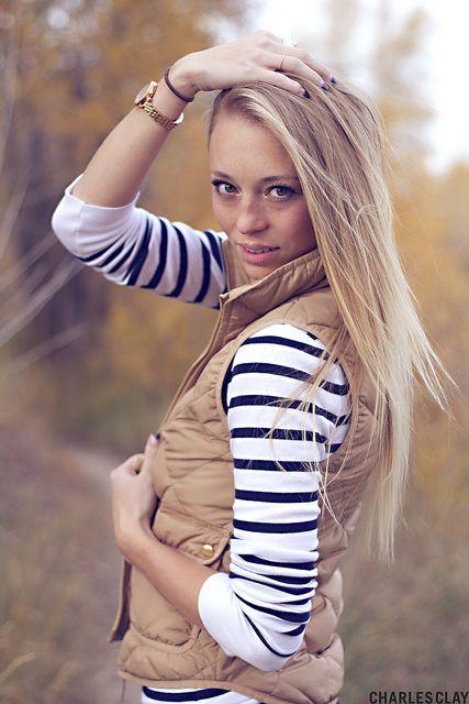 JCrew Vest-neutral color love this vest ... Photographer .... Notice this hair tie around her wrist ????