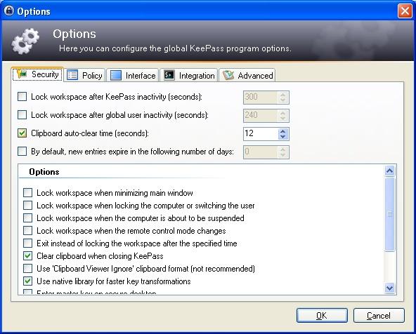 Options - KeePass software
