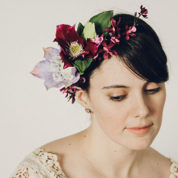 Purple Clematis and Orchis Silk Flower Hair Crown by OlannHandmade